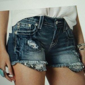 New Miss Me Sequin Destroyed Denim Cutoff Shorts